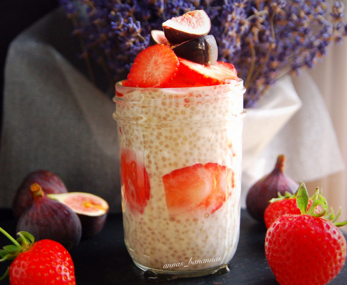 Chia Pudding with Strawberries and Baby Figs