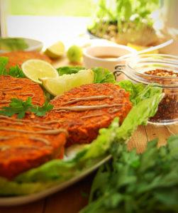 Sweet Potato Cakes with tahini dressing