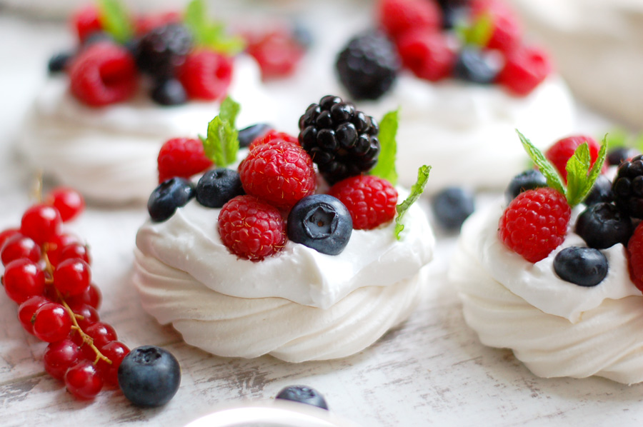 Vegan Berry Pavlovas