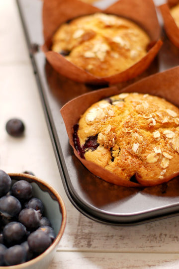 Blueberry and Lemon Muffins with Homemade Apple Sauce