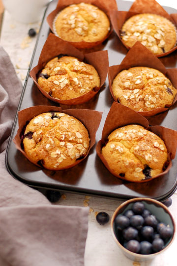 Blueberry-Muffins-with-Oats and Sugar Coating