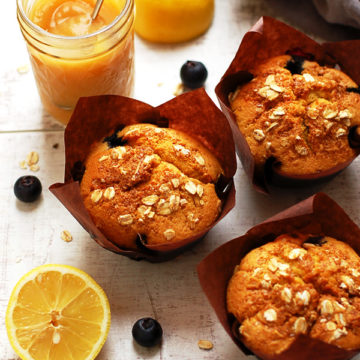 Blueberry Muffins with Homemade Apple Sauce