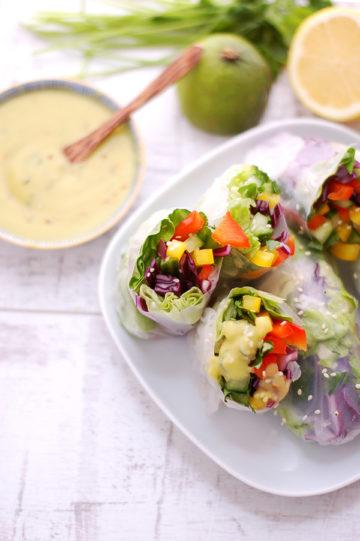 Vegetable Springrolls with dressing