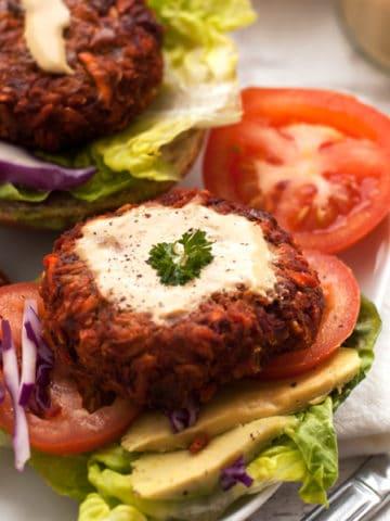 Veggie Burger with Mustard Dresssing