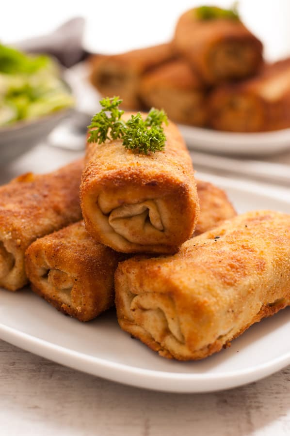 Traditional sauerkraut and mushroom croquettes. Delicious, vegan version of this savory crepe that you will love! |http://annabanana.co/