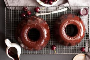 Delicious cherry chocolate bundt cake, deep and rich in flavor, easy to make and ready in 50 mins. Incredibly tasty cake for any occasion that everyone will love! No dairy and vegan too! |http://annabanana.co/