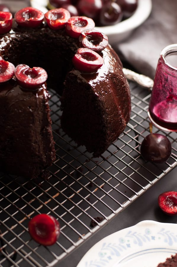 Delicious cherry chocolate bundt cake, deep and rich in flavor, easy to make and ready in 50 mins. Incredibly tasty cake for any occasion that everyone will love! No dairy and vegan too! |https://annabanana.co/