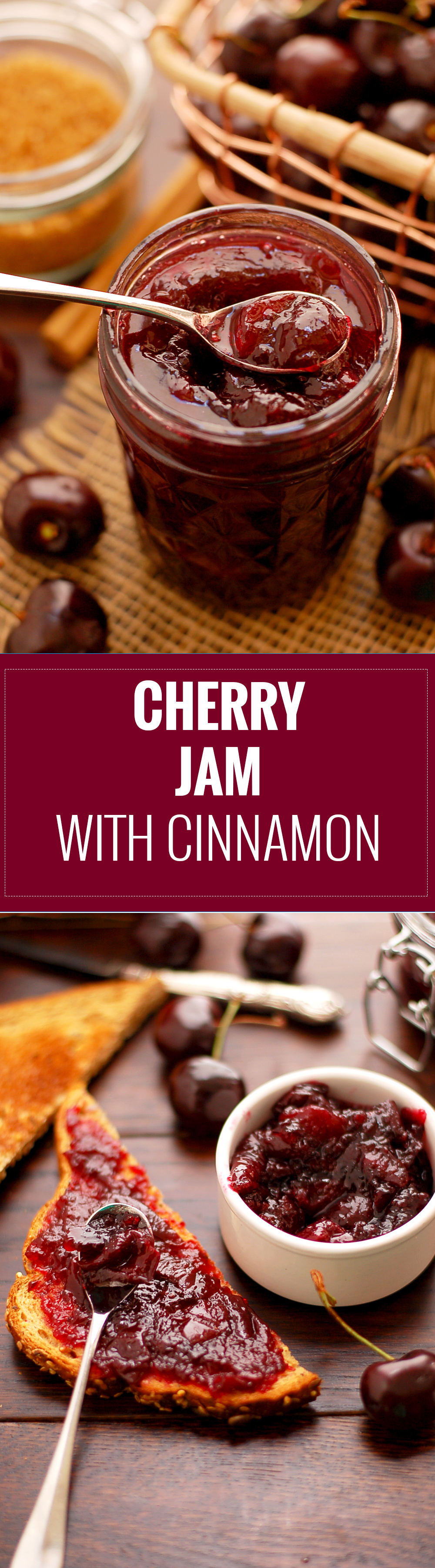 Delicious Cherry and Cinnamon Jam. This is super easy and tasty recipe, with the use of agar, 100% vegan and vegetarian! Yum!