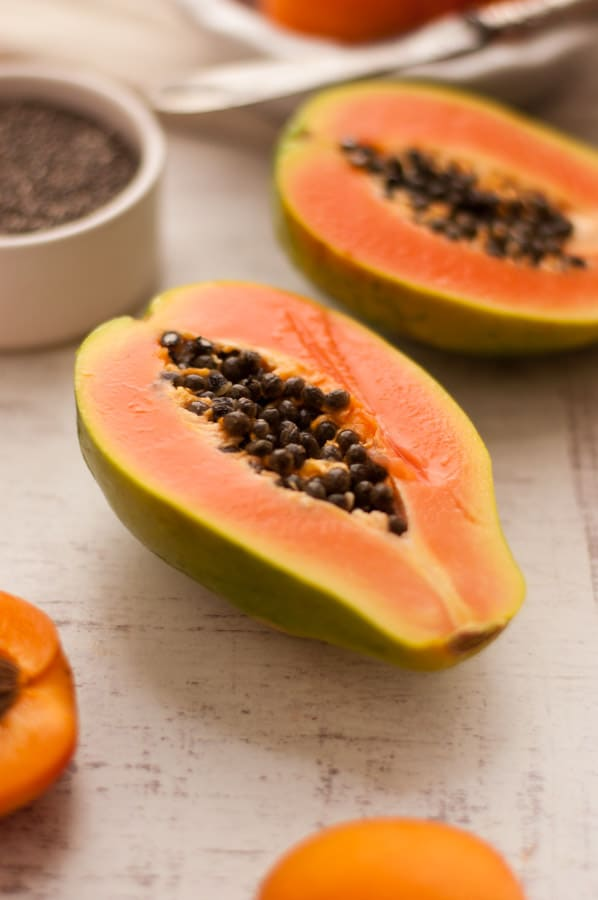 Mango and Papaya Chia Pudding with Apricot