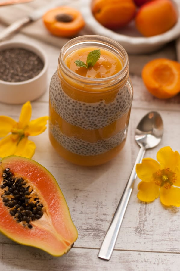 Mango, Papaya and Apricot Chia Pudding infused with Ginger. Delicious recipe for super healthy breakfast. YUM! https://annabanana.co/