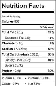 Spicy Pasta Bowl Nutritional Info