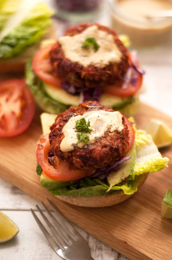Veggie Burger with Mustard Dresssing