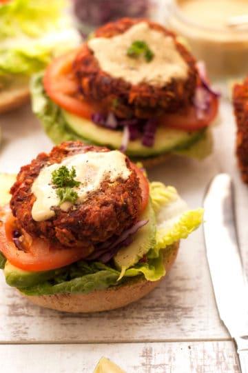 Veggie-Burger with Mustard Dressing