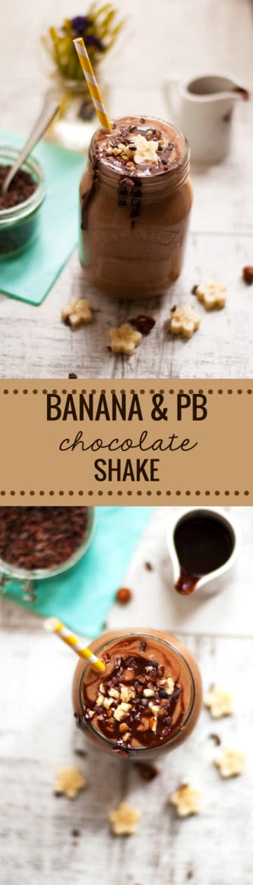 Quick recipe for delicious, creamy and thick chocolate peanut butter banana shake. Made with only 5 ingredients and ready in 5 minutes, you will love it! via @ annabanana.co