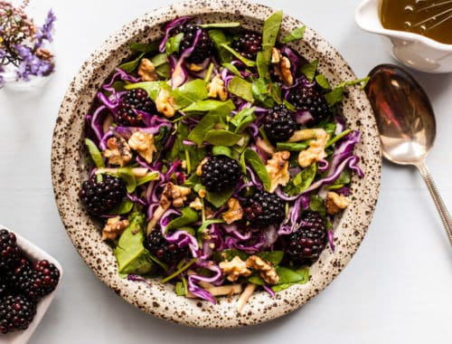 Blackberry and caraway slaw! Perfect seasonal salad recipe with red cabbage, blackberries and caraway seeds, served with mustard dressing. Great combination of flavors and really easy to prepare via@ annabanana.co