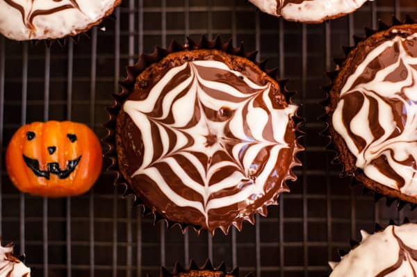 Chocolate Fudge Spiderweb Muffins