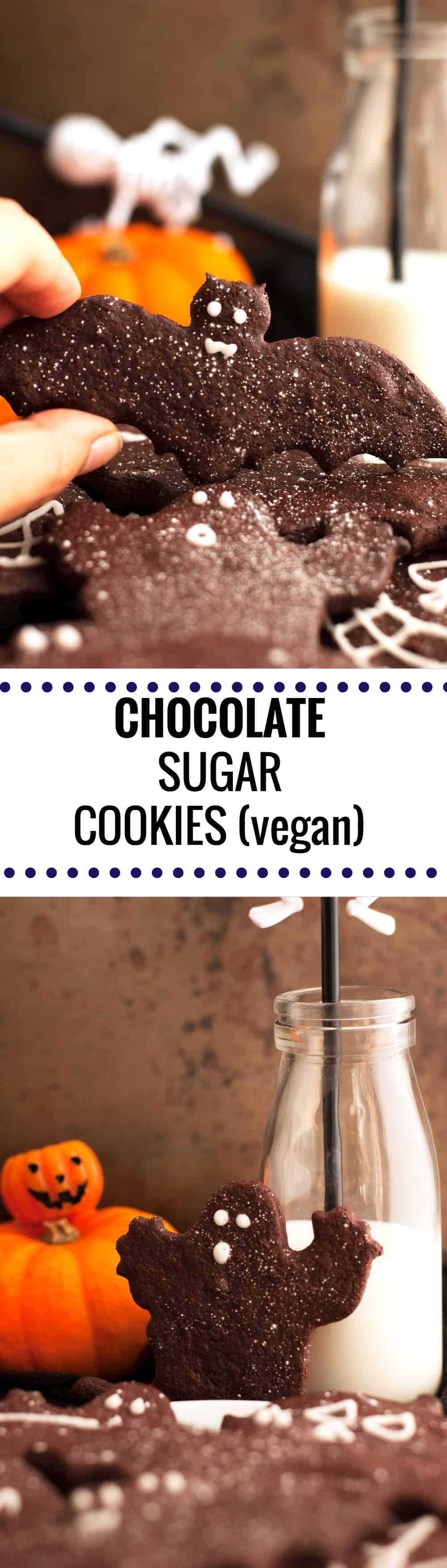 Delicious recipe for chocolate sugar cookies! They are 100% vegan, super easy to make and really fun to decorate! Perfect for holidays! | via@ annabanana.co