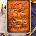 Super tasty recipe for banana pecan bourbon pudding with hidden caramel sauce underneath. Easy to make, delicious treat for the whole family!   via@ annabanana.co