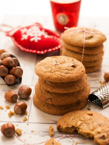 Nutmeg Cookies with Chocolate and Hazelnuts.