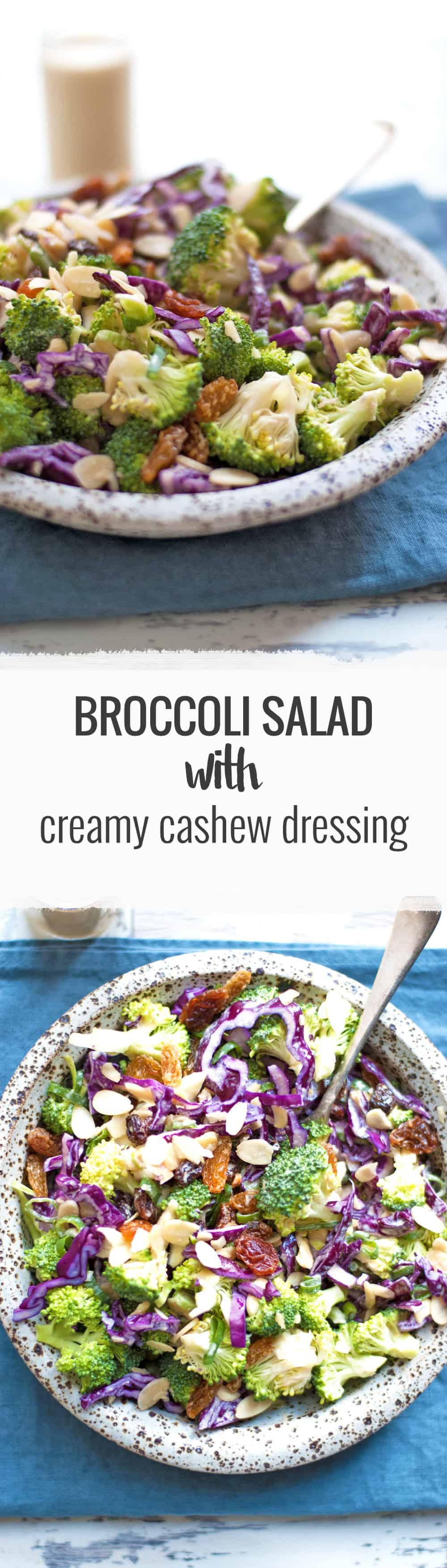 Super crunchy, fresh broccoli salad with creamy cashew dressing. Packed with all the good stuff, ready in 15 minutes! | via @annabanana.co