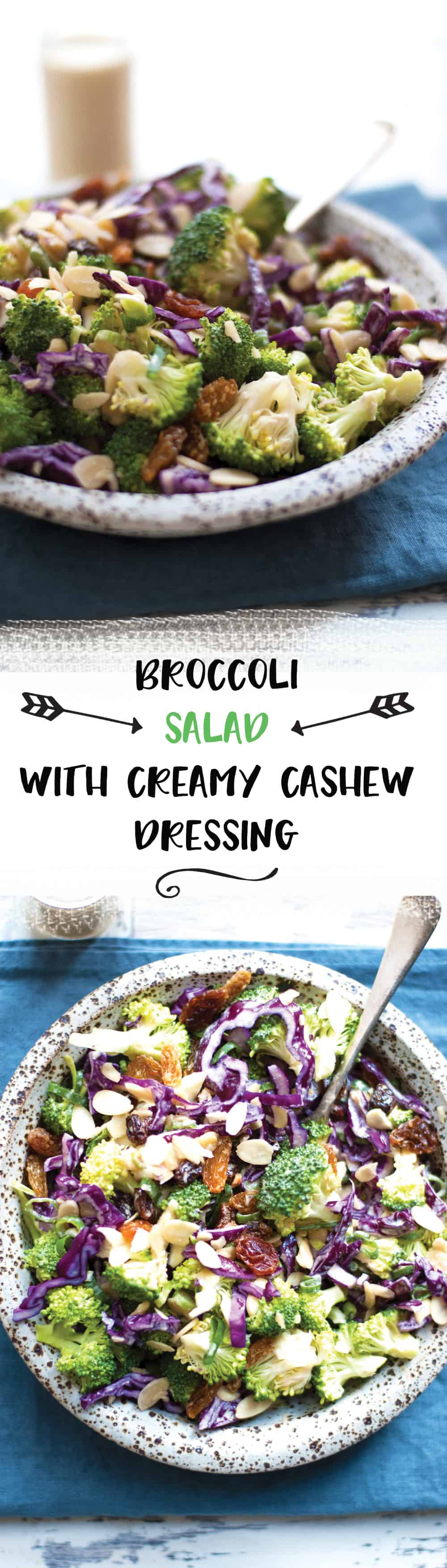 Crunchy broccoli salad with creamy cashew dressing. Quick and easy recipe, packed with all the good stuff! | via @annabanana.co