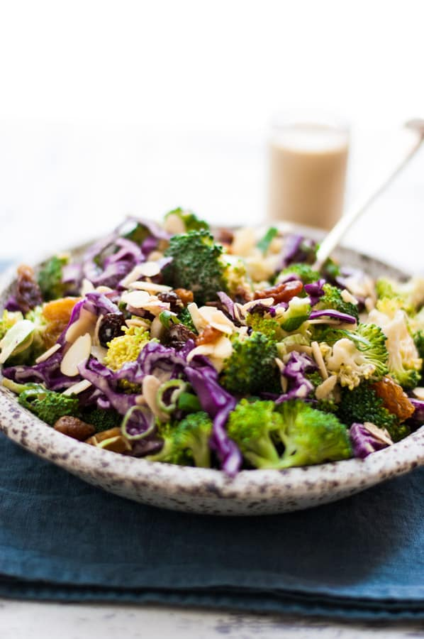 Crunchy broccoli salad with creamy cashew dressing. | via @annabanana.co