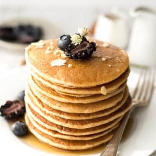Fluffy tofu pancakes with maple syrup | via @annabanana.co