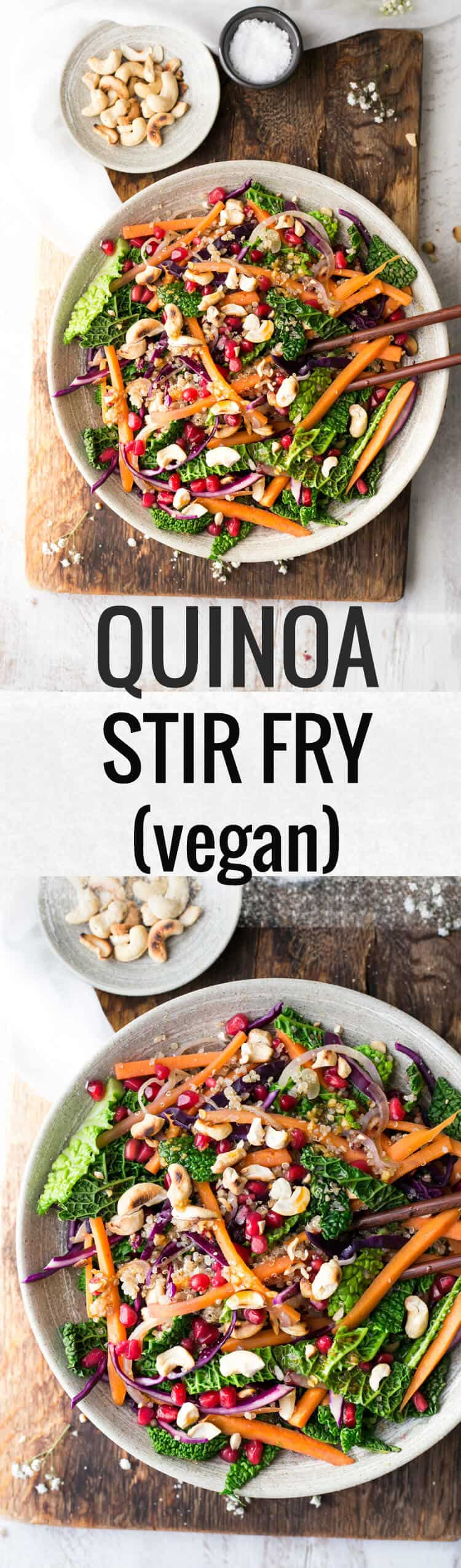 Super clean quinoa and vegetable stir fry with cashews and ginger and lime sauce. Perfect for lunch or dinner!   via @annabanana.co