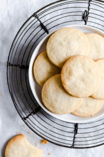overhead close up of plate with shortbread cookies