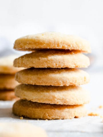 super close up of a stack of 5 shortbread cookies