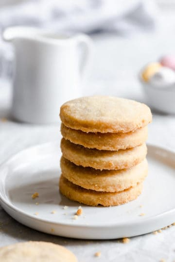side close up of stack of cookies on a plate