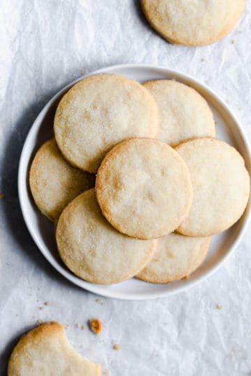 top view of a plate filled with shortbread cookies