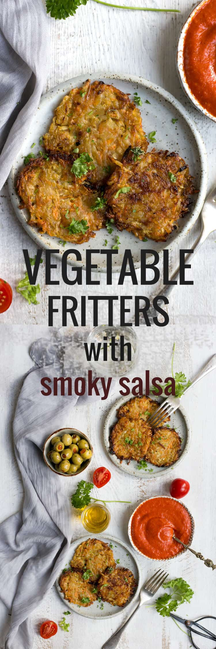 Vegetable fritters with smoky tomato salsa | via @annabanana.co