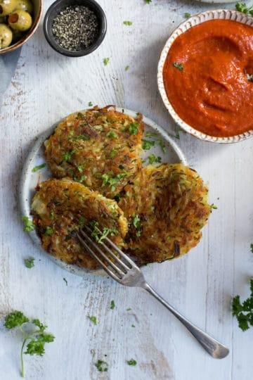 Vegetable Fritters with Smoky Salsa | via @annabanana.co