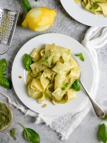 Lemon Pappardelle with basil and kale pesto | via @annabanana.co