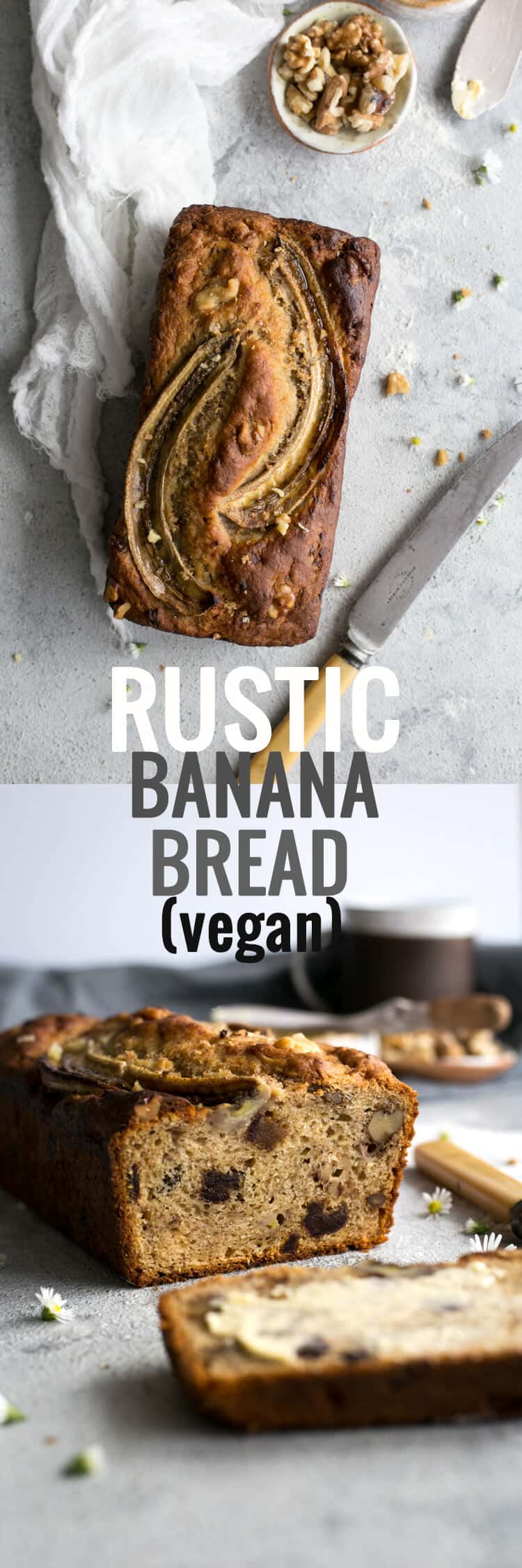 Delicious, rustic banana bread recipe, 100% vegan! | via @annabanana.co