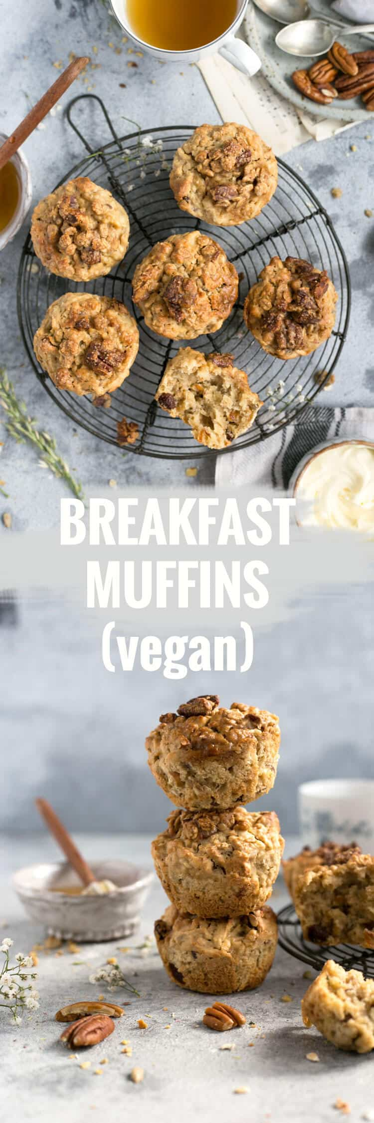 Easy and delicious breakfast muffins with crunchy pecan topping | via @annabanana.co