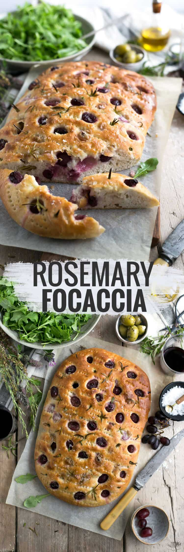 Traditional rosemary focaccia with red grapes, sea salt and olive oil | via @annabanana.co