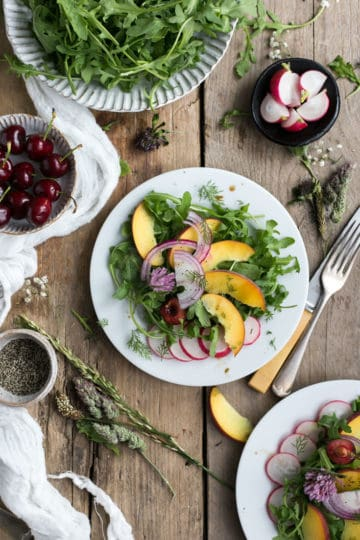Peach and fresh dill salad with balsamic dressing
