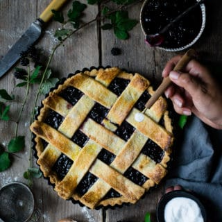 Blackberry jam lattice tart