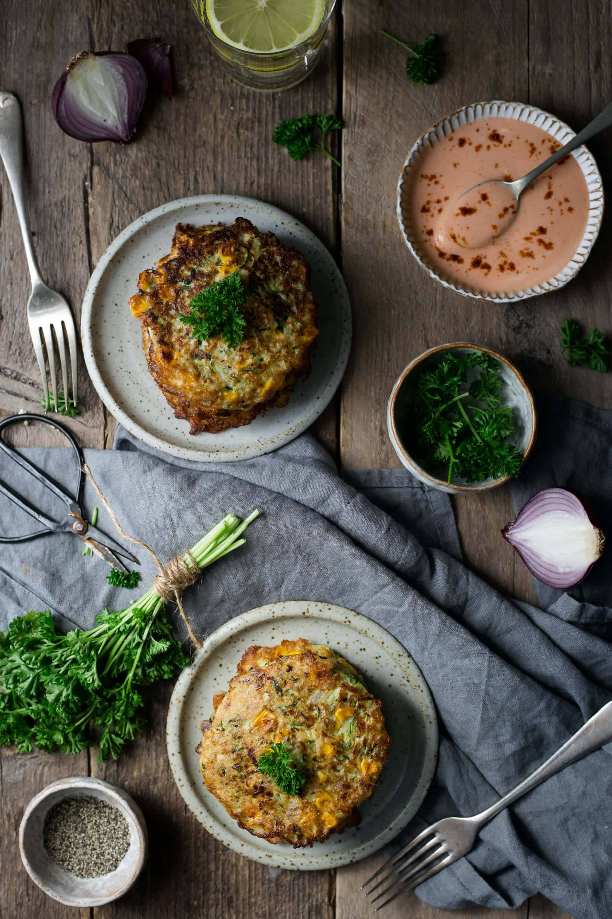 Courgette and corn fritters served with spicy dip | via @annabanana.co