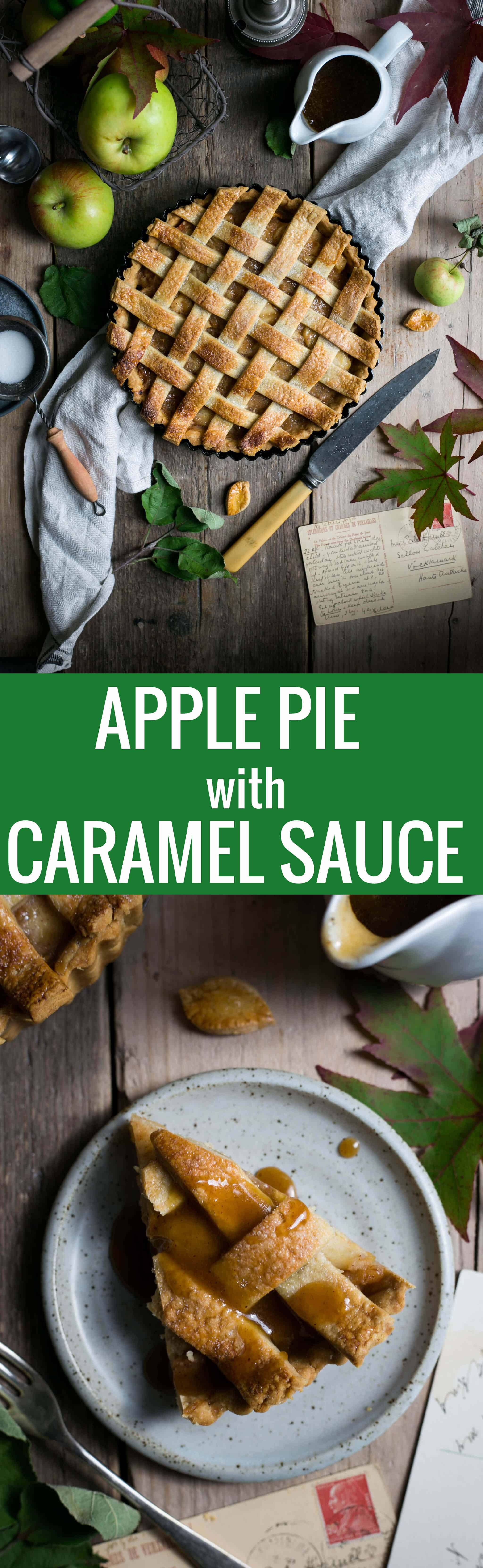 Traditional apple pie recipe, served with delicious caramel sauce | via @annabanana.co