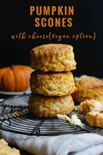 straight-ahead picture of three pumpkin scones with cheese