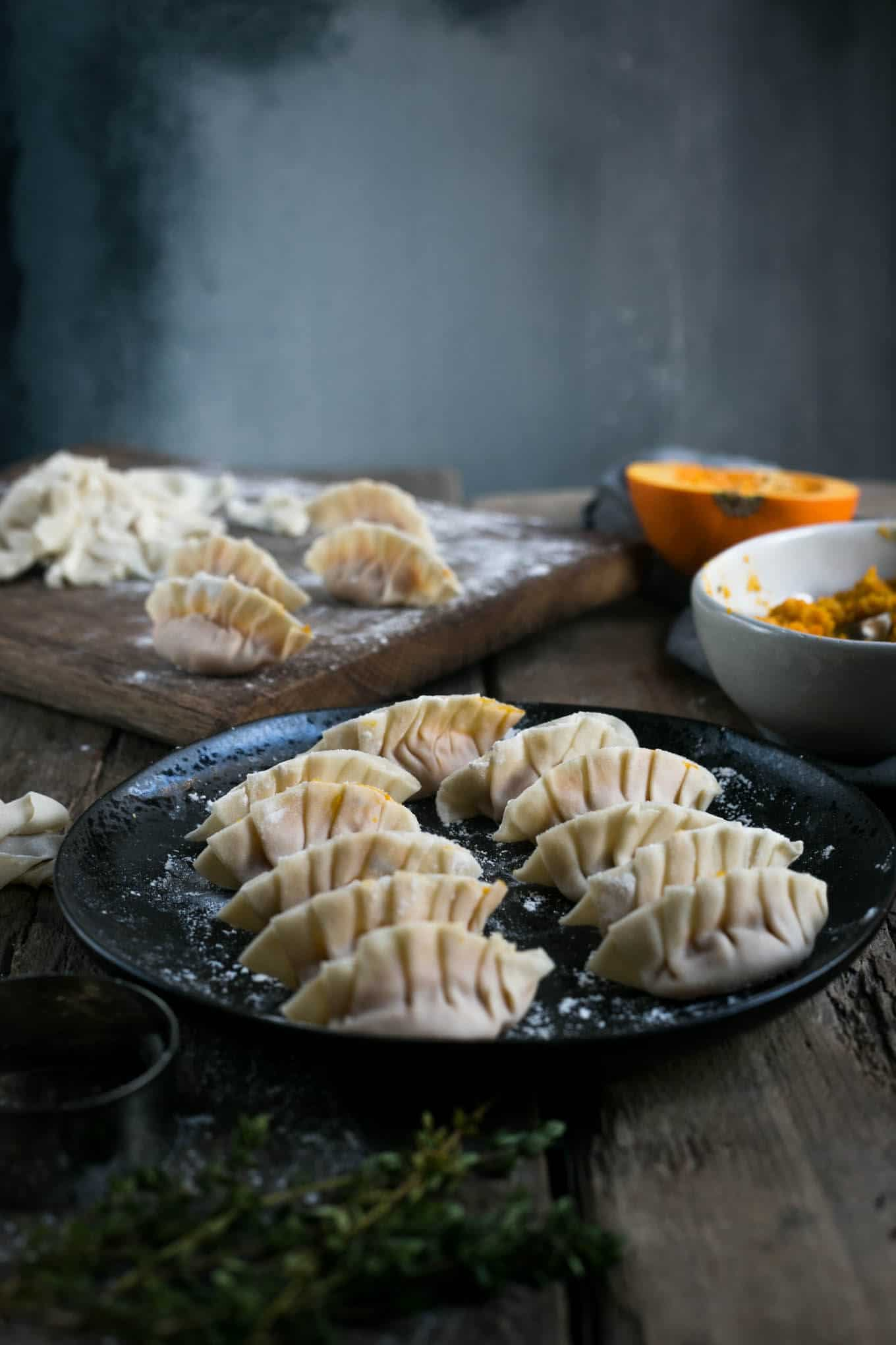 Pumpkin and root vegetable goyoza dumplings #vegan #pumpkin #goyoza | via @annabanana.co
