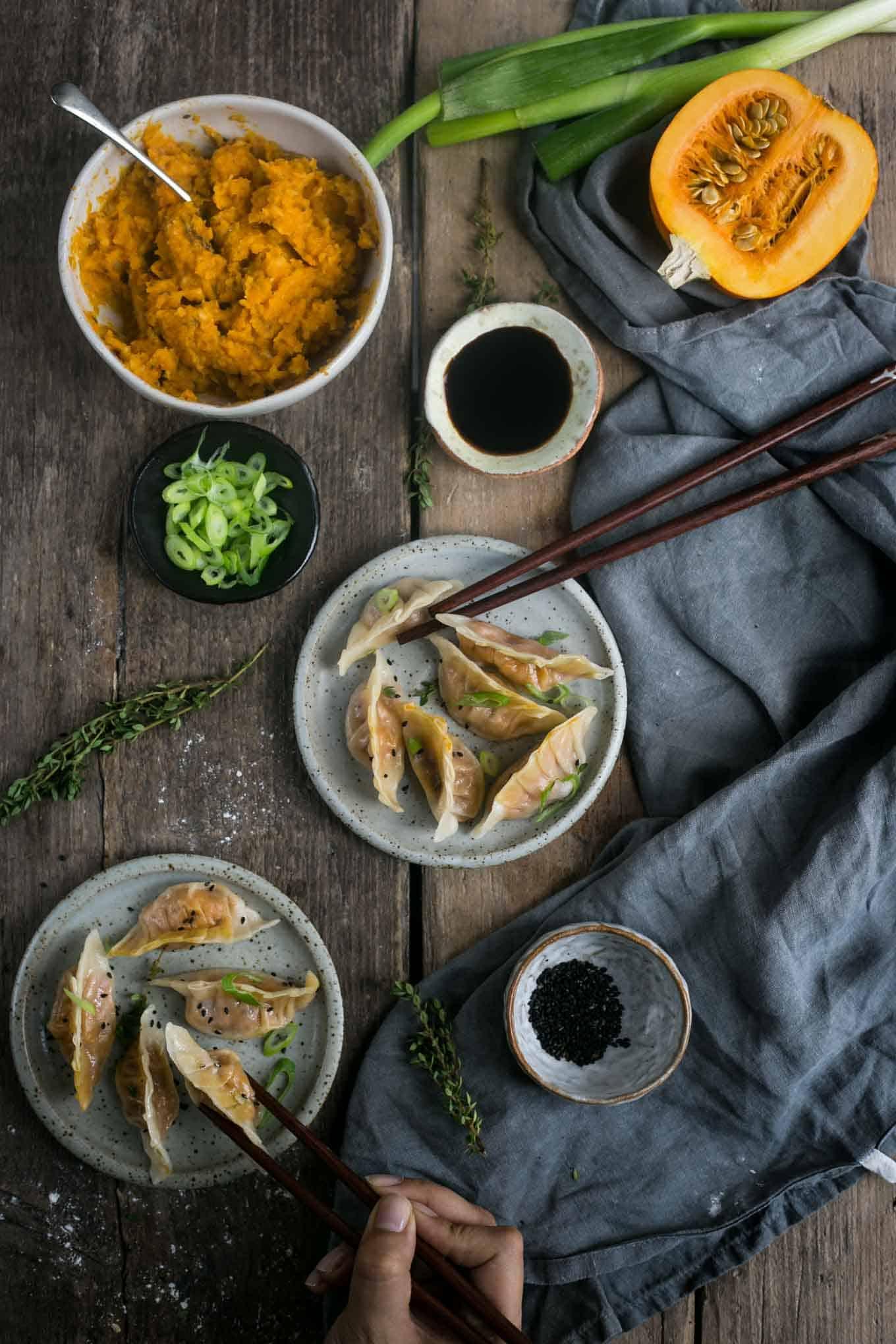 Pumpkin and root vegetable goyoza dumplings #vegan #goyoza | via @annabanana.co