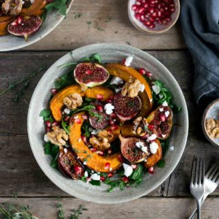 Roasted pumpkin salad with walnuts and caramelised figs. Perfect seasonal #salad #vegan #vegetarian | via @annabanana.co