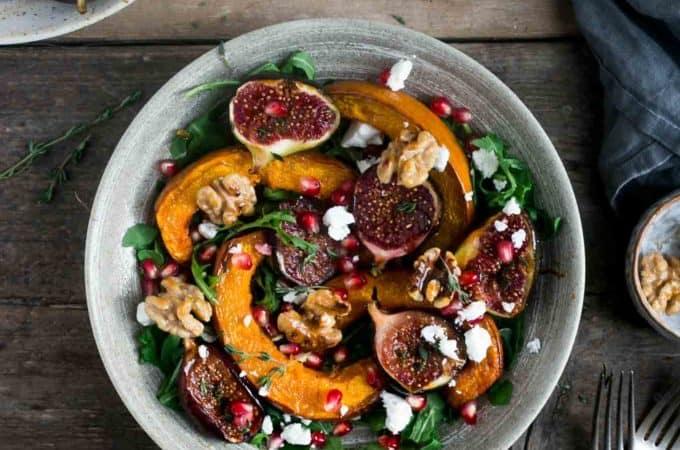 Roasted pumpkin salad with walnuts and caramelised figs. Perfect seasonal #salad #vegan #vegetarian | via @annabanana.co