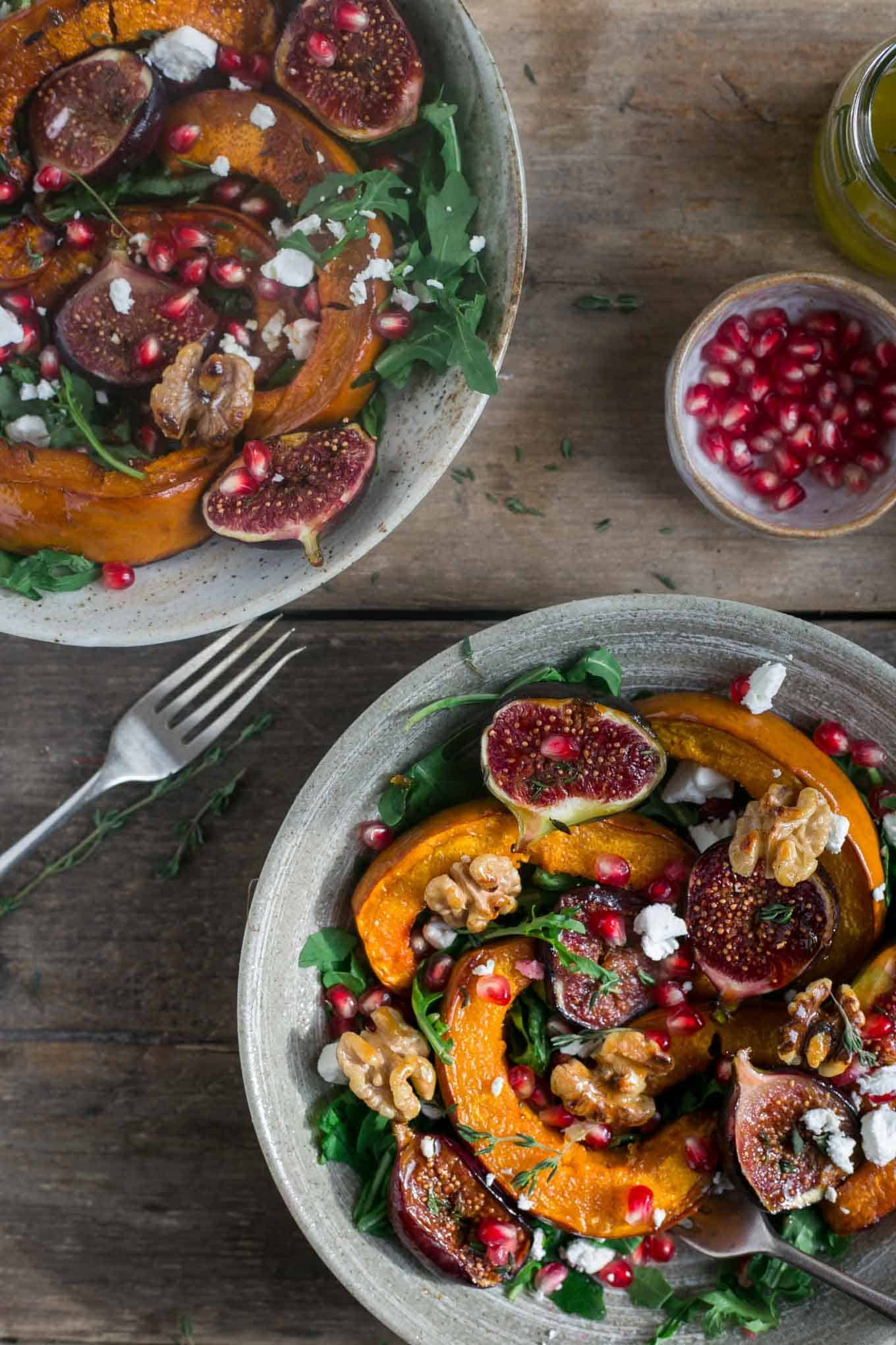 Perfect autumnal salad with roasted pumpkin, walnuts and figs #vegetarian #vegan | via @annabanana.co
