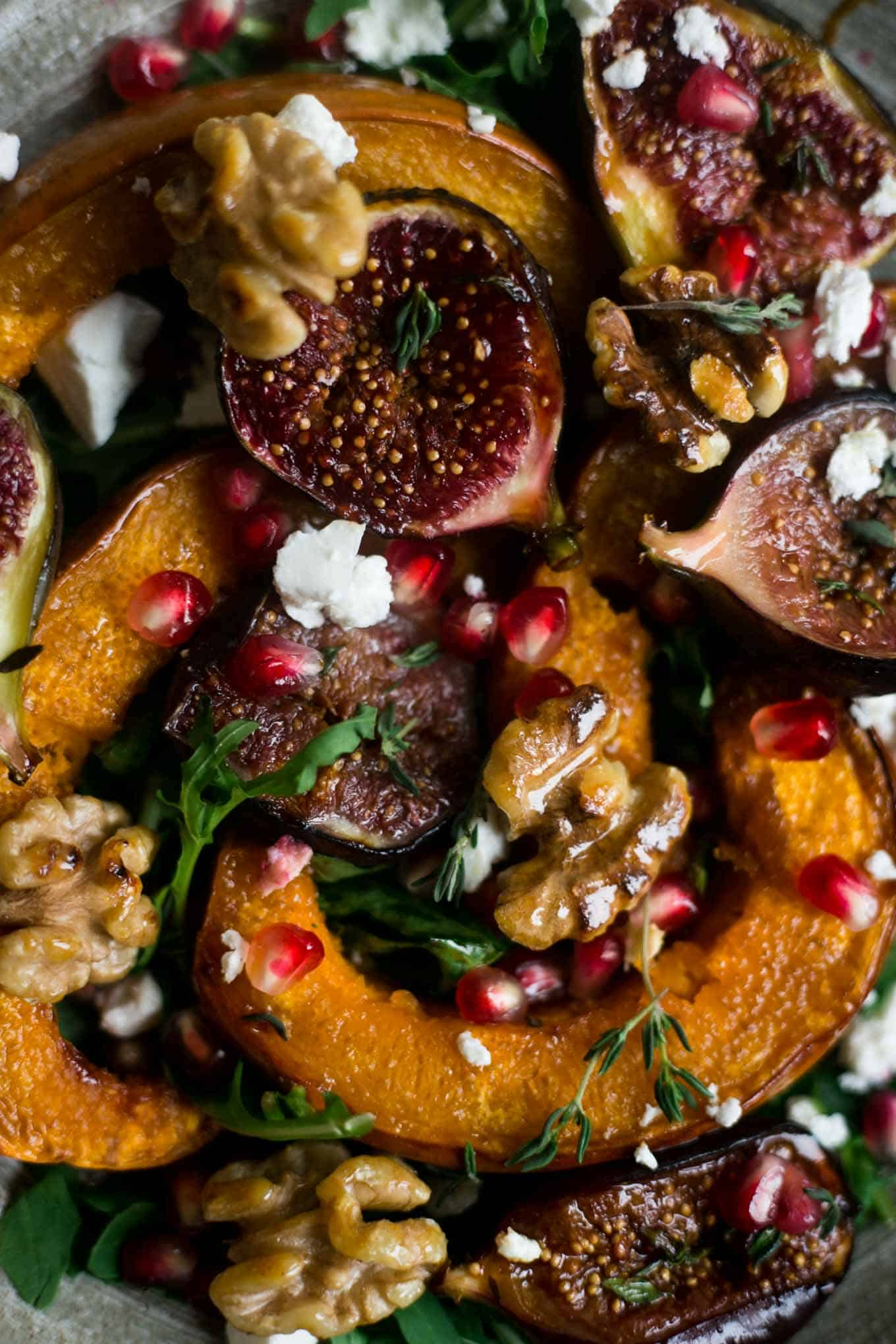 Roasted pumpkin and walnut salad with #vegan feta and figs | via @annabanana.co