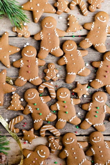 top view of gingerbread cookies with festive sprinkles